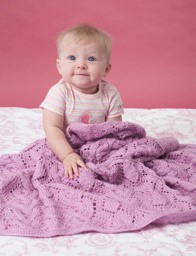 Cable And Lace Blanket in Bernat Baby Sport | Knitting ...
