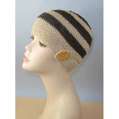 Moss (Seed) Stitch Stripe Button Up Beanie Hat