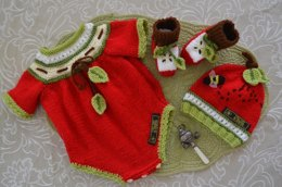 """Apple of Our Eye""  Baby Onsie / Romper Set"