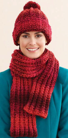 Rustic Ribbed Hat and Scarf in Lion Brand Tweed Stripes - L0611F