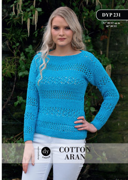 Moss Stitch and Lace Stitch Jumper in DY Choice Cotton Aran - DYP231 - Downloadable PDF