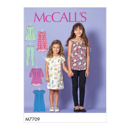 McCall's Children/Girls' Tops, Dresses and Leggings M7709 - Sewing Pattern