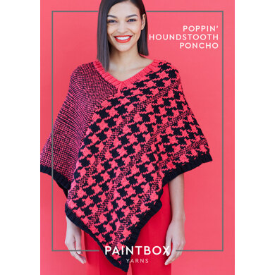 Poppin' Houndstooth Poncho : Poncho Knitting Pattern for Women in Paintbox Yarns Aran Yarn