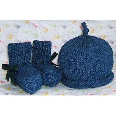 Denim Bootees and Hat