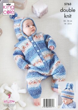 Onesie, Cardigan, Trousers and Hats in King Cole Baby Splash DK - 5763 - Leaflet