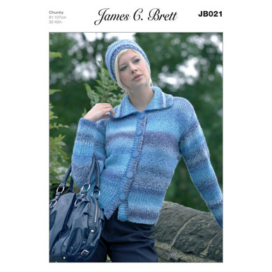 Hat and Cardigan in James C. Brett Marble Chunky - JB021