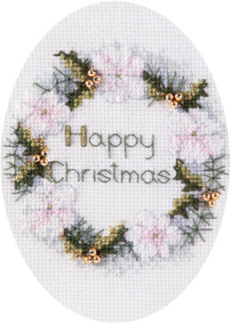 Derwentwater Designs Golden Wreath Card Cross Stitch Kit - 12.5cm x 18cm