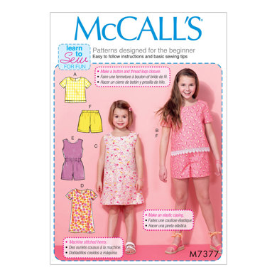 McCall's Children's/Girls' Tops, Tent Dresses, Blouson-Bodice Romper and Shorts M7377 - Sewing Pattern