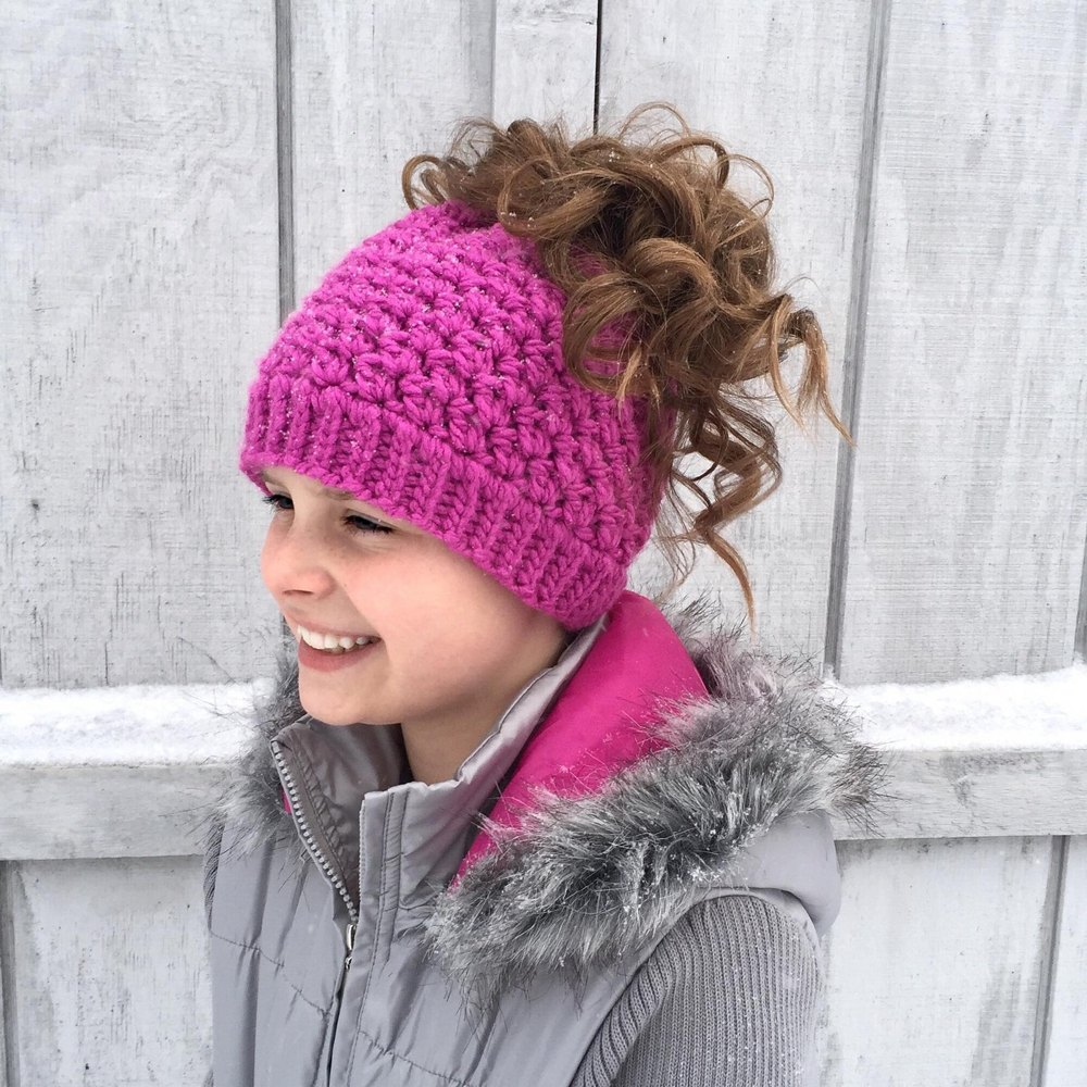 Kaycee Ponytail Or Bun Beanie Hat Crochet Pattern By Crochet By