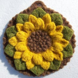 Felted Crocodile Flower Potholder