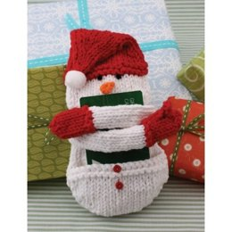 Snow Man Gift Card Cozy in Lily Sugar 'n Cream Solids