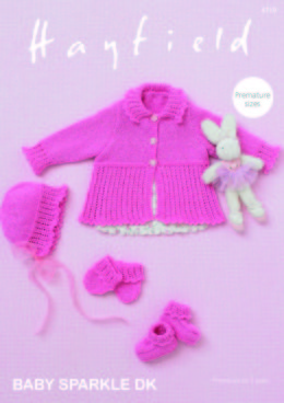Cardigan, Bonnet, Bootees & Mittens in Hayfield Baby Sparkle DK - 4719 - Downloadable PDF