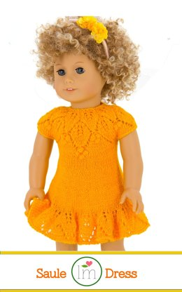 Saule Dress for 18 inch dolls. Doll Clothes Knitting Pattern.