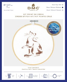 DMC Playful Cat Cross Stitch Kit (with 5in hoop)