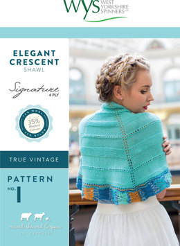 Elegant Crescent Shawl in West Yorkshire Spinners Signature 4 Ply - Downloadable PDF