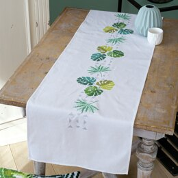 Vervaco Botanical Leaves Table Runner Embroidery Kit - 38 x 142cm