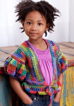 Little Girl's Puffy Sleeve Sweater in Red Heart Super Saver Economy Prints - LW2615