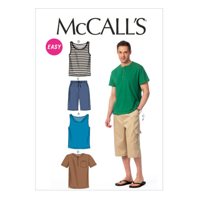 McCall's Men's Tank Tops, T-Shirts and Shorts M6973 - Sewing Pattern