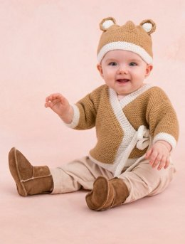 Teddy Sweater and Hat in Red Heart Anne Geddes Baby - LW3418