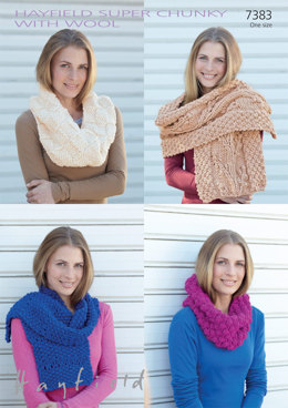 Snoods & Scarves in Hayfield Super Chunky with Wool - 7383 - Downloadable PDF