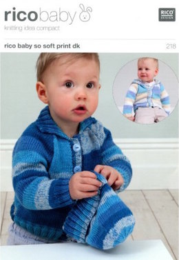 Cardigan with Collar or Hood and Hat in Rico Baby So Soft DK - 218