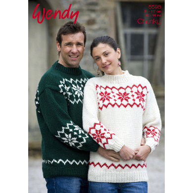 His and Her Snowflake Sweater in Wendy Mode Chunky - 5598
