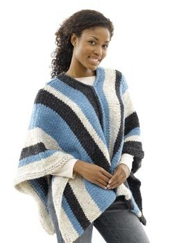 Vertical-Striped Poncho: Woman's Version in Lion Brand Wool-Ease Thick & Quick - 40493-2K