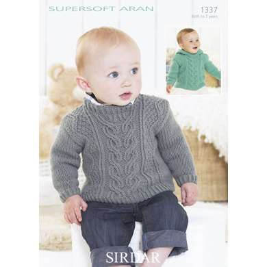 Jumper with cable detail with or without a Hoodie in Sirdar Supersoft Aran - 1337