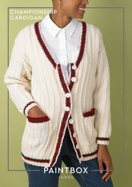 Championship Cardigan in Paintbox Yarns Wool Mix Aran - Downloadable PDF