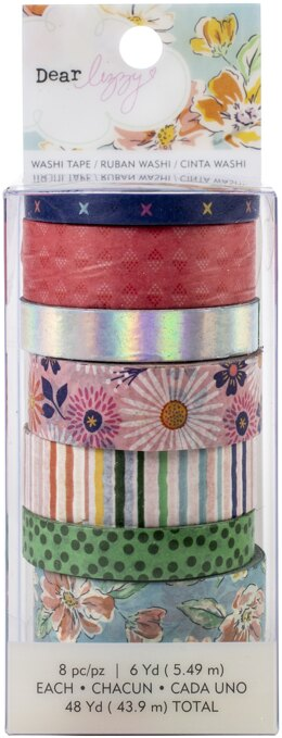 American Crafts Dear Lizzy She's Magic Washi Tape 8/Pkg - W/Iridescent Foil Accents