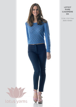 Sweater With Lace Front  in Lotus Pure Cashmere DK - LOT017