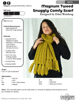 Snuggly Comfy Scarf in Cascade Yarns Magnum Tweed - B273 - Downloadable PDF