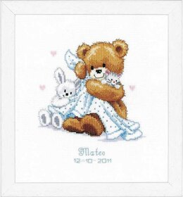 Vervaco Teddy and Blanket Birth Sampler Cross Stitch Kit