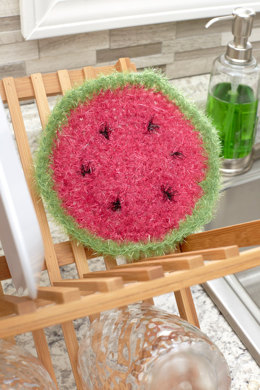 Watermelon Slice Scrubby in Red Heart Scrubby Sparkle - LW5573