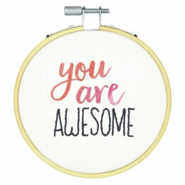 Dimensions You Are Awesome Crewel Embroidery Kit with Hoop - 4in (10cm)