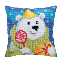Collection D'Art Candy Teddy Cushion Cross Stitch Kit - 40cm x 40cm