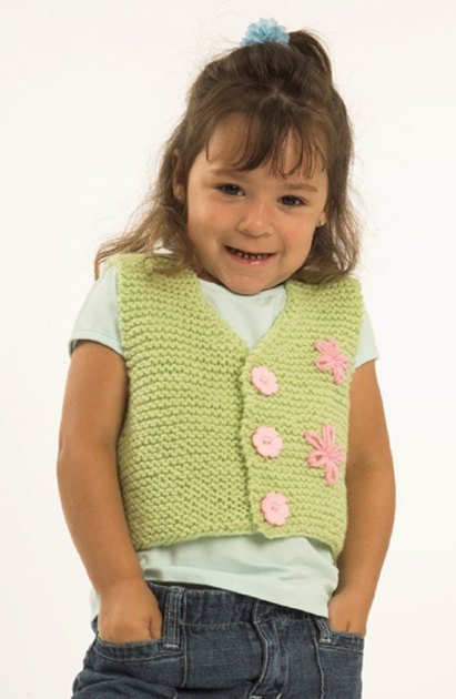 Toddler Vest In Plymouth Encore Worsted F175 Knitting