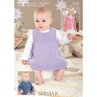 Sirdar Free Knitting Patterns For Babies : Pinafore and Cardigans in Sirdar Snuggly Baby Bamboo DK - 4470 - Downloadable...