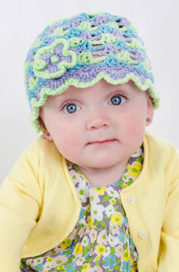 Ruffled Posies Hat in Red Heart Baby TLC Solids - LW3114 - Downloadable PDF