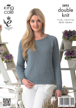 Womens' Sweater in King Cole Giza Cotton DK - 3895