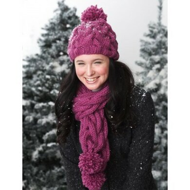 f4f64c7fff3bf Snowdrift Cable Hat and Scarf Set in Bernat Roving