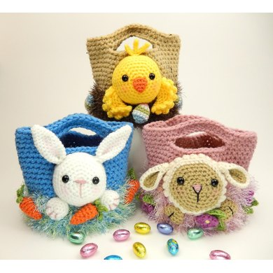 Easter Treat Bags Bunny Chick And Lamb Crochet Pattern By Moji