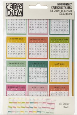 "Carpe Diem Dated Mini Calendar Stickers 4""X6"" 9/Pkg - Monthly, July 2019-December 2020"