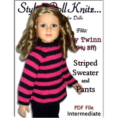 Striped Sweater and Pants Pattern for My Twinn Doll, 23 inch dolls