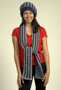Beret and Scarf in Plymouth Yarn De Aire - 2093 - Downloadable PDF