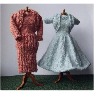 1:12th scale Ladies dresses and boleros set c. 1950