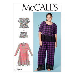 McCall's Misses'/Women's Lounge Tops, Dress, Shorts and Pants M7697 - Sewing Pattern