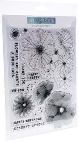 """Concord & 9th Clear Stamps 6""""X8"""" - Fine Line Florals"""