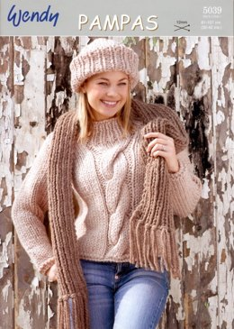 Long Sleeved Sweater, Hat and Scarf in Wendy Pampas Mega Chunky - 5039