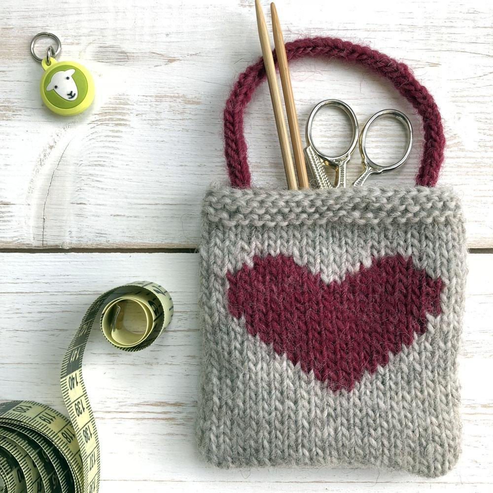 Intarsia Heart Gift Bag Knitting Pattern By Nicky Barfoot